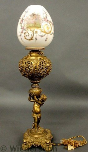 Brass Piano Lamp With Cherub Decoration Signed �J
