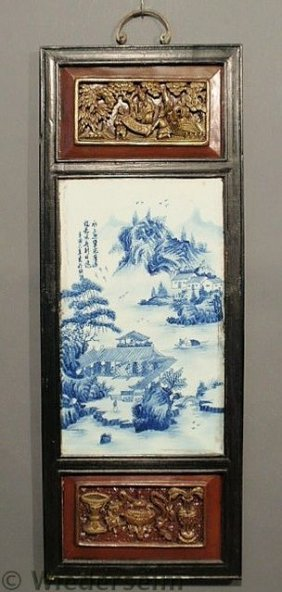Blue And White Asian Porcelain Plaque Inset In A