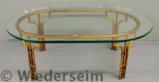 132: Faux gilt Chinese Chippendale style metal coffee