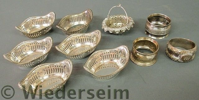 135: Set of five sterling silver nut dishes, three nap