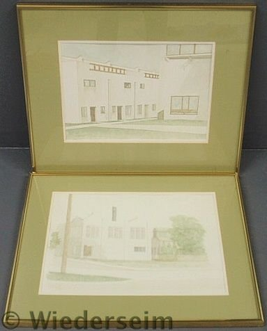 138: Pair of framed and matted architectural watercolo