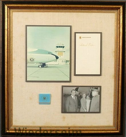142: Framed collection of Richard M. Nixon memorabilia
