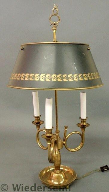 143: Brass three-arm hunting horn lamp with gilt decor