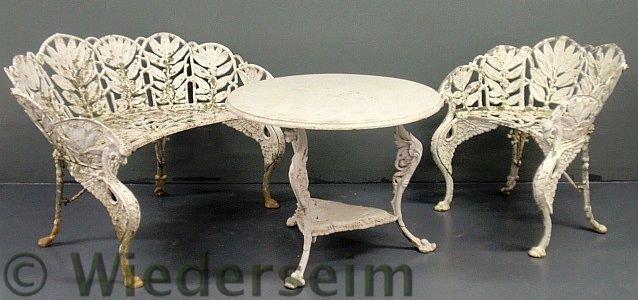 149: Three-piece aluminum garden set, 20th c., bench,