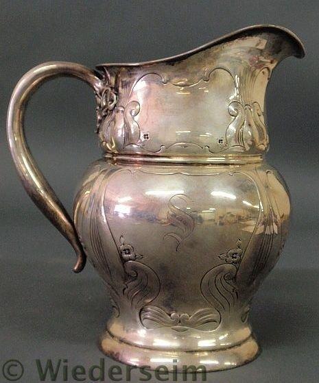 221: Sterling silver Art Nouveau five-pint water pitch