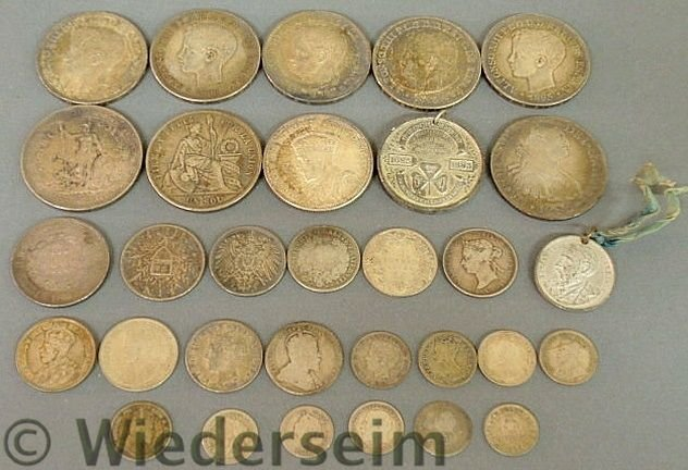 288: Group of foreign coins and medals TI- 1793 Spanis