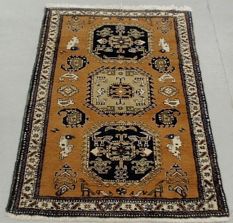 6A: Persian oriental center hall carpet with three ce
