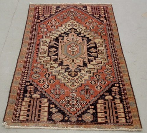 6C: Persian oriental center hall carpet with a center