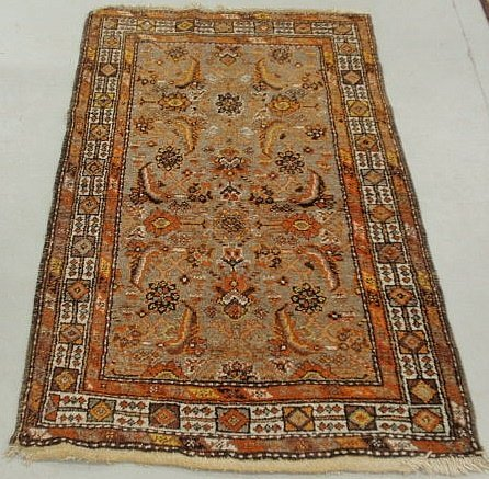 6D: Persian center hall carpet with overall rust colo