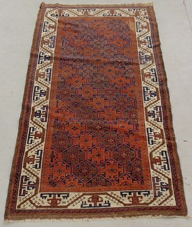 6G: Afghan oriental hall runner with geometric patter