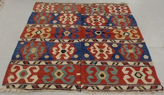 6H: Colorful Kilim oriental flat weave carpet with ge