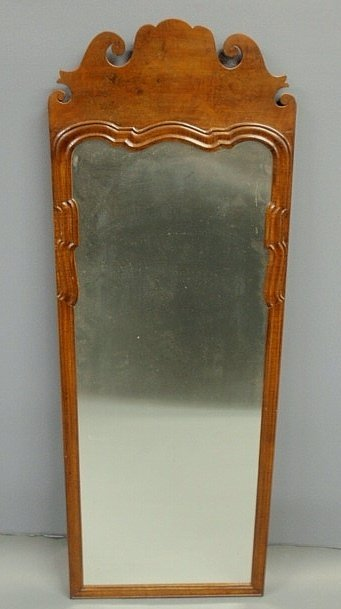 150B: Queen Anne mahogany mirror with a carved crest. 5