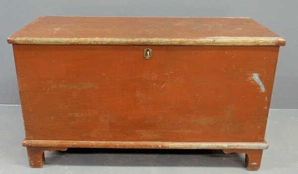 150C: Red paint decorated blanket chest, c.1830, with t