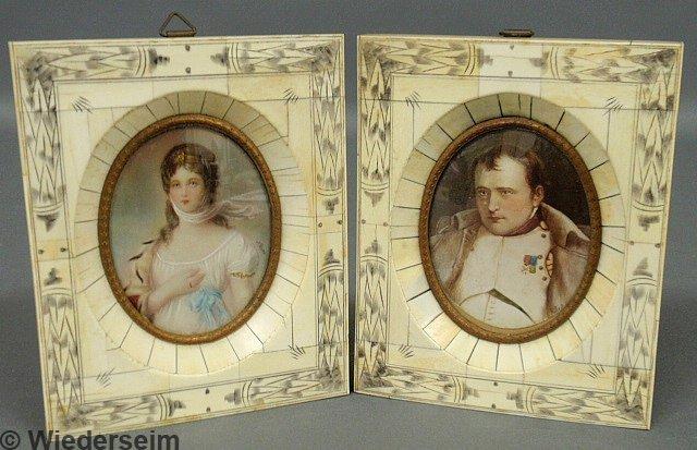 70: Two miniature portraits painted on ivory, Napoleon