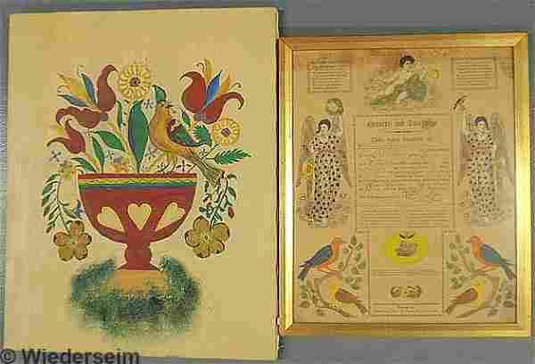 Printed and hand-colored Geburts und Taufschein by