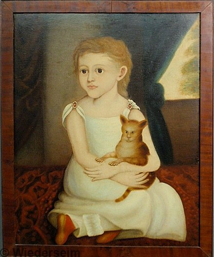445: Wonderful oil on canvas folk art portrait of a you