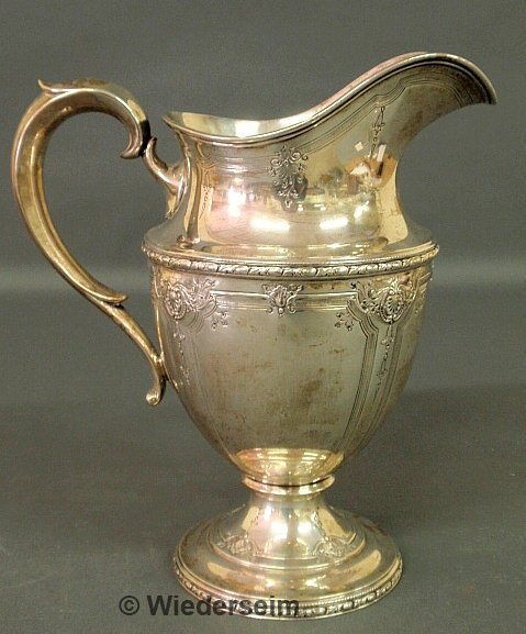 """375: Sterling silver four-pint water pitcher in the """"Ne"""