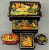 571: Five Russian lacquerware boxes, the largest Ilya M