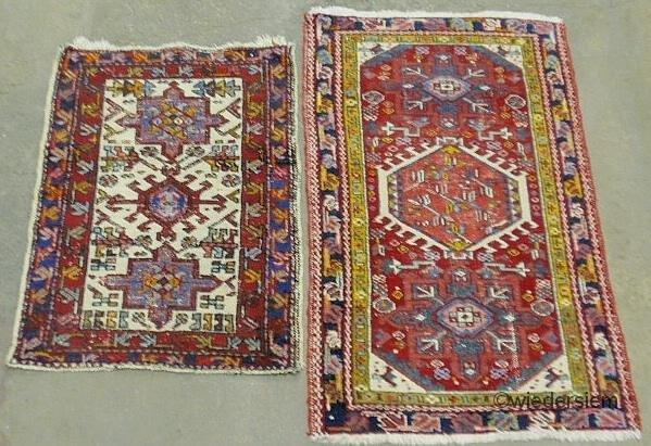 """2: Two Heriz oriental throw mats. 2'x2'9"""" & 2'3""""x3'8"""""""