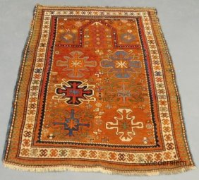 3: Kazak oriental prayer carpet with colorful geometric