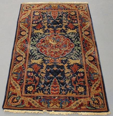4: Indo-Tabriz oriental mat with a blue field with leaf