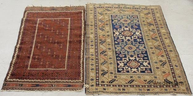 5: Two antique oriental hall mats, one red & one with b