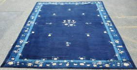Blue Peking Palace Size Carpet With Potted Flower