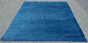 5B: Blue contemporary carpet with incised geometric des