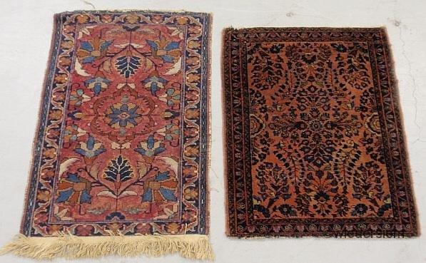 "8: Two small Sarouk oriental throw mats, largest 2'9""x1"