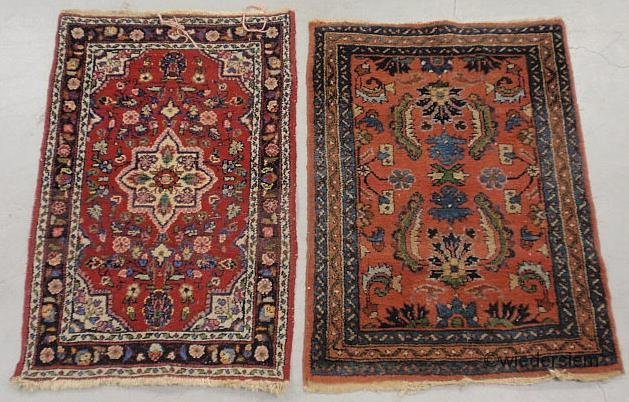 """9: Two small Sarouk oriental mats, each approx. 3'x2'2"""""""