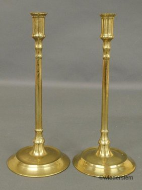 11: Pair of Continental brass candlesticks, 19th c., wi