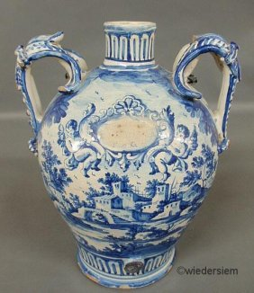 13: Large blue and white Italian water vessel, probably