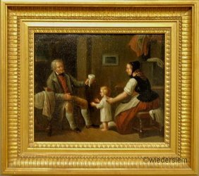 14: Oil on canvas interior genre scene, 19th c., with a