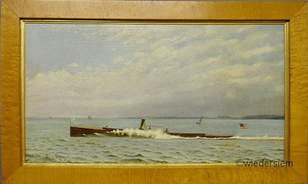 """16: Oil on canvas nautical portrait of the runabout """"No"""