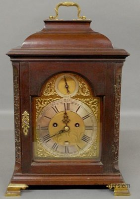 17: English Chippendale mahogany cased bracket clock, 1
