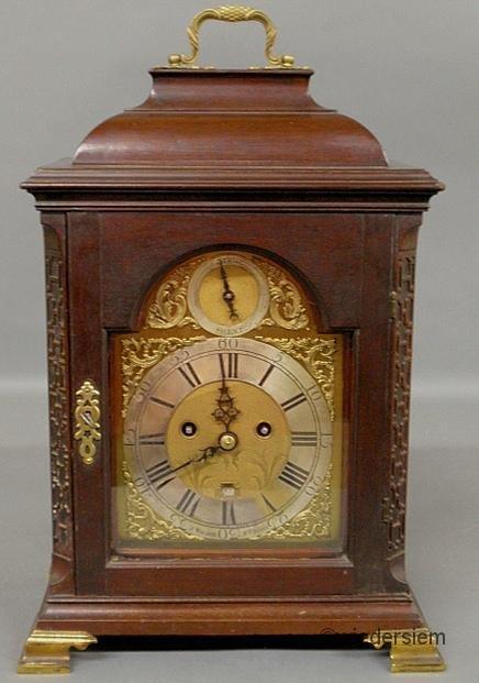 17: English Chippendale mahogany cased bracket clock, 1