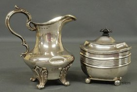 "18: English silver creamer, 6.25""h., hallmarked and mon"