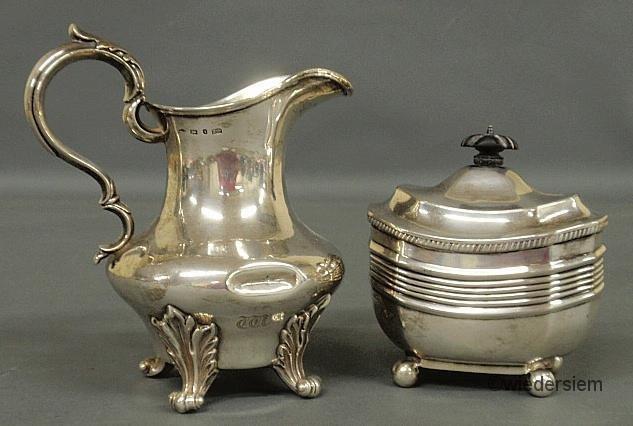 "18: English silver creamer, 6.25""h., hallmarked and mon"