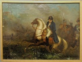 19: Oil on canvas painting of Napoleon Bonaparte, late