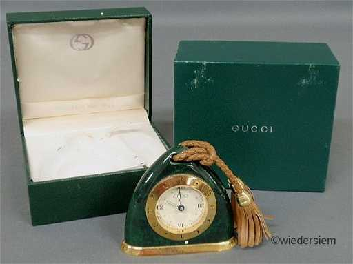20 Gucci Malachite Cased Swiss Travel Alarm Clock Wit