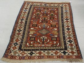 5C: Colorful Caucasian throw carpet with geometric patt