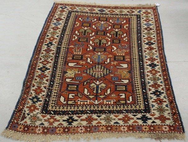 5C: Colorful Caucasian throw carpet with geometric patt