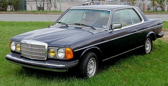 1981 Mercedes-Benz 300CD Coupe, navy blue with cream le