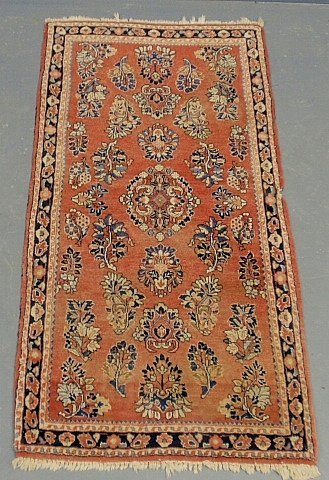 """Red Sarouk oriental mat with floral patterns. 4'3""""x2'1"""""""
