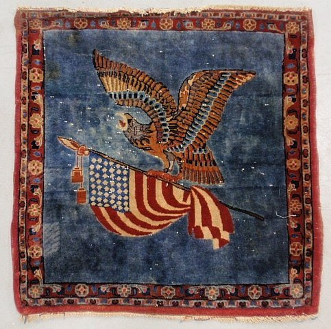 Rare oriental mat with an American eagle and United Sta