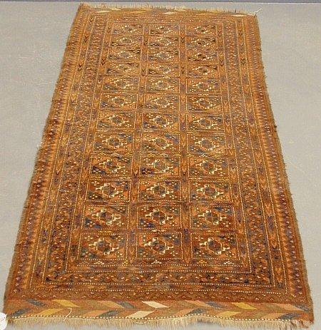 Bokhara oriental hall carpet with herringbone border. 5
