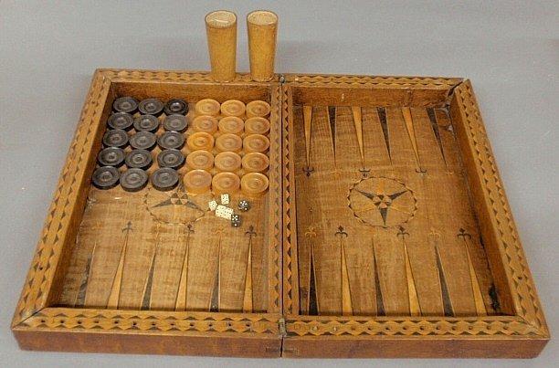 Large inlaid yew wood backgammon set, 18th/19th c. As f