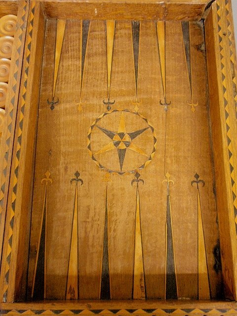 Large inlaid yew wood backgammon set, 18th/19th c. As f - 2