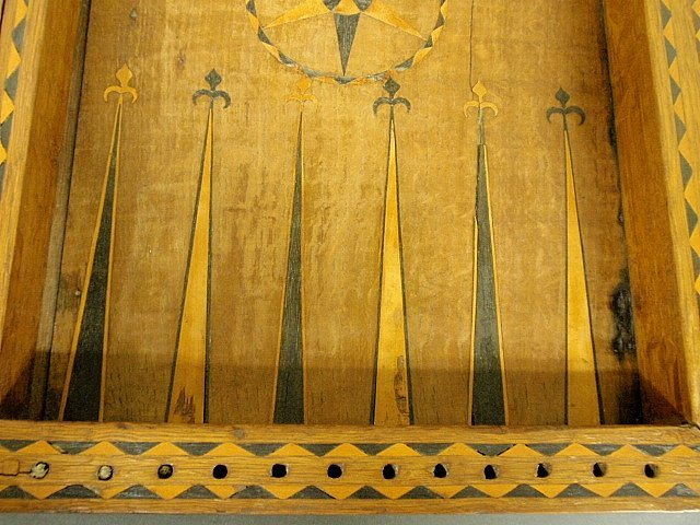 Large inlaid yew wood backgammon set, 18th/19th c. As f - 3
