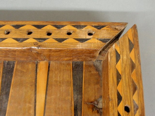 Large inlaid yew wood backgammon set, 18th/19th c. As f - 8
